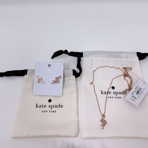 Kate Spade By The Pool Flamingo Necklace & Earring